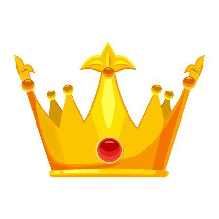 Corona de oro símbolo de la joyería real del rey, la reina y la princesa con diamantes de piedras preciosas. Estilo de dibujos animados aislado del vector