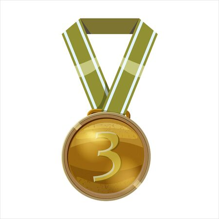 Bronze medal green ribbon with relief detail. Bronze medal for third place. Cartoon realistic icon on a white background