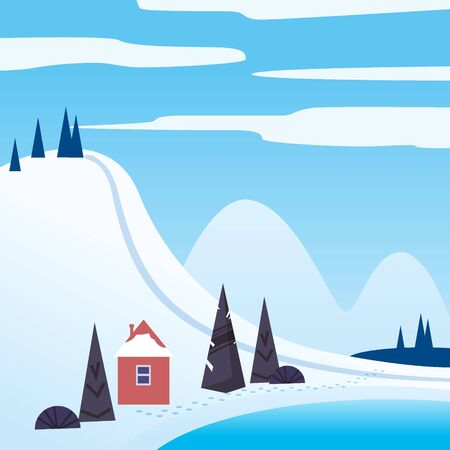 Winter landscape february month. Season banner for calendar pages cover baner poster. Minimal trendy style isolated vector