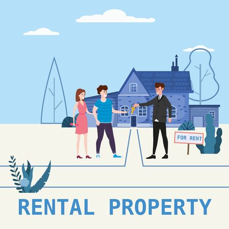 Real estate concept. House rent service. Modern family characters rent new house or big appartment sales manager hands over the keys. Realtor gives keys to family from new home. Broker services. Vector flat Illustration