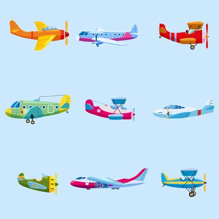 Set of airplanes aircraft different colour. Retro, personal, cargo, speed biplane monoplane
