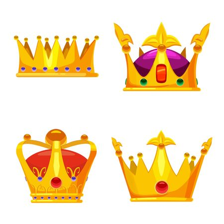 Set Golden crowns royal jewelry symbol of king queen and princess with precious stones diamonds. Vector isolated cartoon style 일러스트
