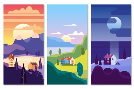 Landscape rural suburban traditional buildings, hills and trees mountains sea sun in trendy minimal geometric flat style. Vector, isolated vertical. Social media stories banner poster template