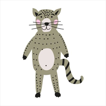 Cat cute funny character. Childish vector illustration in scandinavian style. Vector illusttration isolated concept for children print poster banner