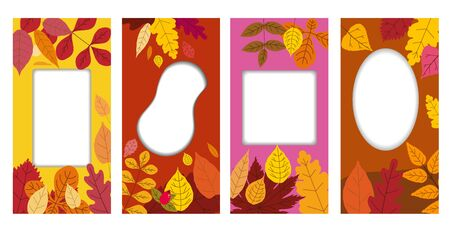 Set autumn templates backgrounds of autumn fallen leaves orange yellow foliage. Social media stories banners. Template for event invitation, product catalog, advertising. Vector isoalted trendy flat style