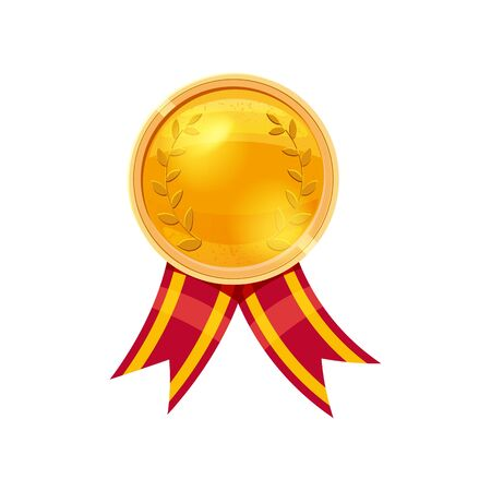 Gold medal red ribbon with relief detail. Gold medal for first place. Cartoon realistic icon on a white background