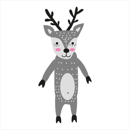 Deer cute funny character. Childish vector illustration in scandinavian style. Vector illusttration isolated concept for children print poster banner