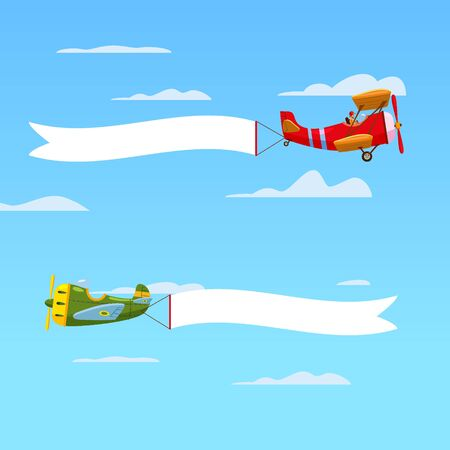 Red retro airplanes aircraft with advertising banner ribbon in the cloudy sky. Vector isolated illustration