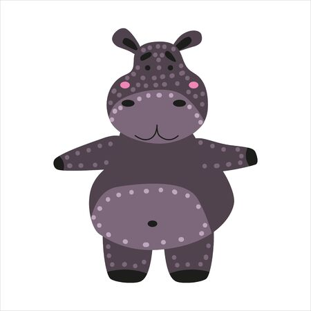 Hippopotamus cute funny character. Childish vector illustration in scandinavian style. Vector illustration isolated concept for children print poster banner