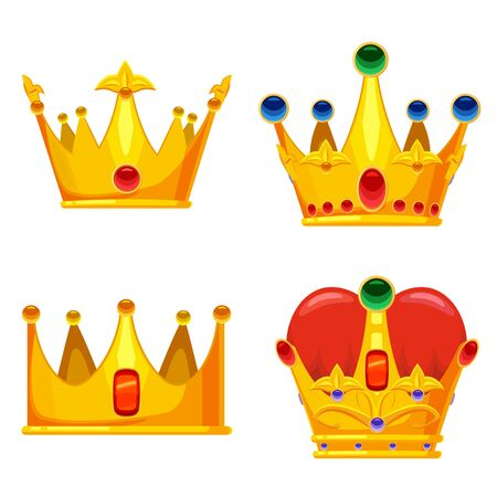Set Golden crowns royal jewelry symbol of king queen and princess with precious stones diamonds. Vector isolated cartoon style Stock Illustratie