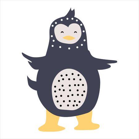 Penguin cute funny character. Childish vector illustration in scandinavian style. Vector illustration isolated concept for children print poster banner Illustration