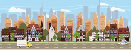 Urban cityscape old town historical buildings downtown background modern skyscrapers, road cars. Vector illustration , banner poster isolated