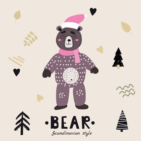 Bear cute funny character. Childish vector illustration in scandinavian style. Vector illustration isolated concept for children print poster banner