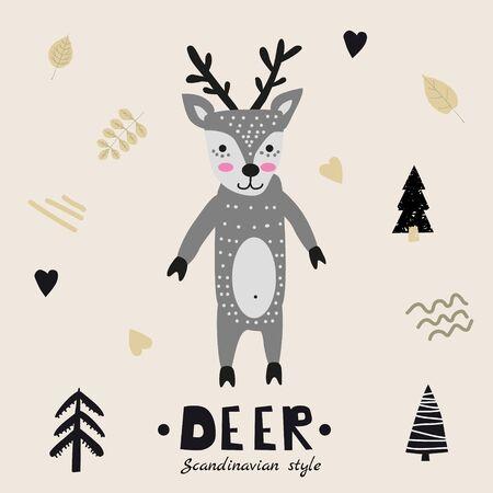 Deer cute funny character.Childish vector illustration in scandinavian style flat design. Vector illustration isolated concept for children print poster banner