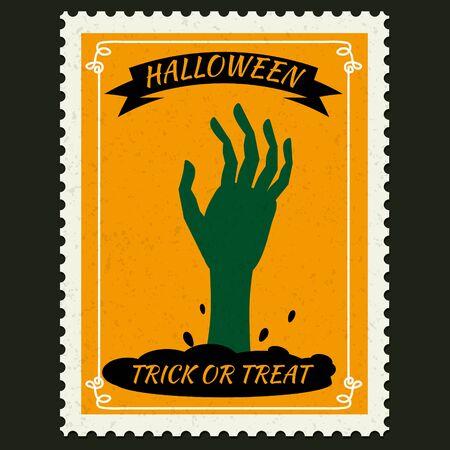 Happy Halloween-Briefmarken mit der Hand des auferstandenen toten Zombies, Halloween-Cartoon-Charaktersymbol. Vektor isoliert Retro-Vintage