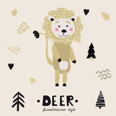 Lion cute funny character. Childish vector illustration in scandinavian style flat design. Vector illustration isolated concept for children print poster banner