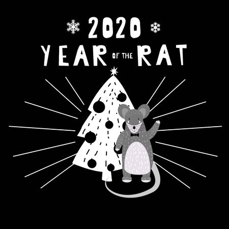 2020 Chinese New Year of the Rat zodiac cute character greeting card template Scandinavian style. Vector illustration