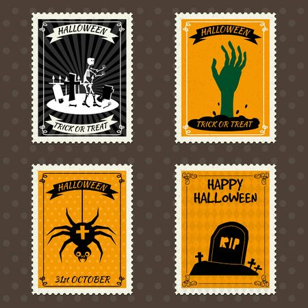 Happy Halloween Postage Stamps with hand of the risen dead zombie, spider, grave, cemetery, halloween cartoon symbol. Vector isolated retro vintage 向量圖像