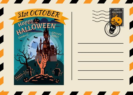 Happy Halloween Postcard invitation Dark Castle Cemetery template with Postage Stamp background design. Vector isolated banner poster