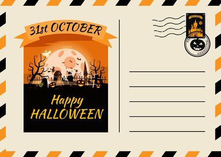 Happy Halloween Postcard invitation template with Postage Stamp background design. Vector isolated banner poster