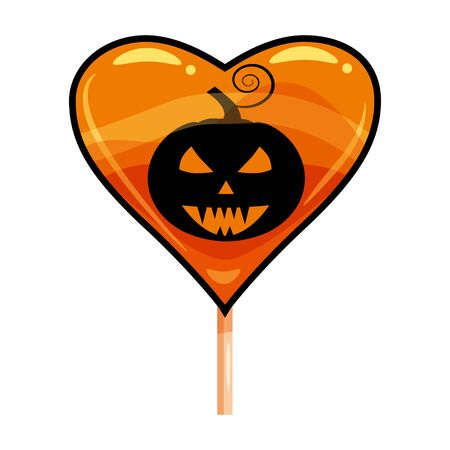 Halloween lollipop heart sweets colorful with halloween pumpkin colors elements. Vector isolated illustration 向量圖像