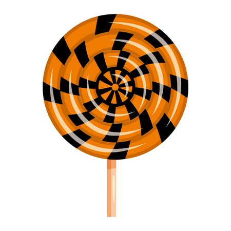 Halloween lollipop swirl sweets colorful with halloween colors elements. Vector isolated illustration