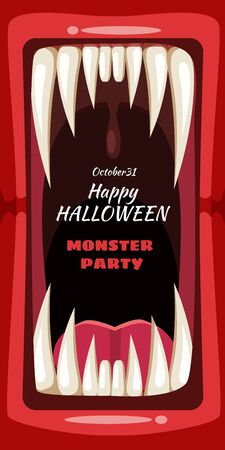 Creepy Halloween party banner scary monster character teeth jaw and tongue in mouth closeup Çizim
