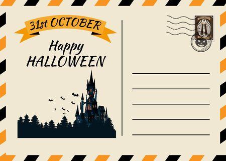 Happy Halloween Postcard invitation template with Postage Stamp background design Illusztráció