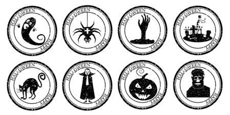 Set Halloween Stamp Postal. Icon Pumpkin Hand Cemetery Cat Vampire Ghost Spider Silhouette Seal. Grunge Texture. Passport Round Design. Vector Design Retro Isolated Standard-Bild - 133381182
