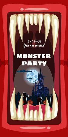 Creepy Monster Halloween party banner scary monster character teeth jaw in mouth closeup