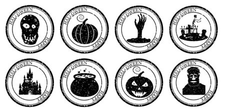 Set Halloween Stamp Postal. Icon Pumpkin Cauldron Scull Castle Cemetery Zombie Silhouette. Grunge Texture. Passport Round Design. Vector Design Retro Isolated 스톡 콘텐츠 - 133381183