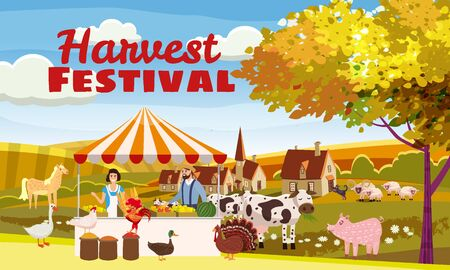 Harvest Festival Farmer Family Sell Harvest Products Grocery On Eco Farm Organic Çizim
