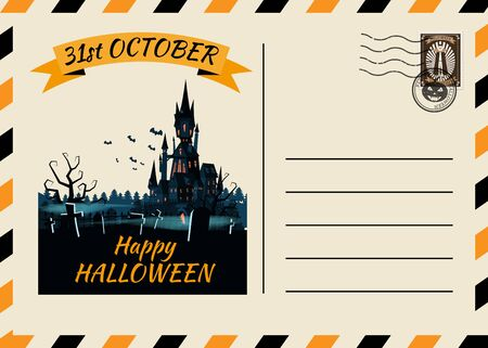 Happy Halloween Postcard invitation template with Postage Stamp background design 向量圖像