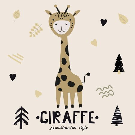Giraffe cute funny character. Childish vector illustration in scandinavian style flat design. Vector illusttration isolated concept for children print poster banner 일러스트