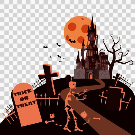 Happy Halloween Card Template Background, Moon Skeleton Cemetery Castle Bats Spooky, Vector Illustration Banner Isolated 일러스트