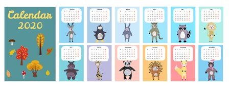 2020 Calendar Cute Animals Characters. Monthly Vector illustration