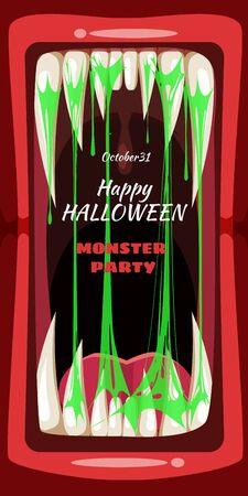 Creepy Halloween party banner scary monster character teeth jaw and tongue in mouth closeup Vector Illustration