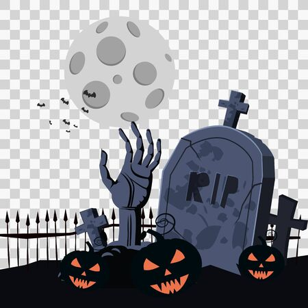 Happy Halloween Card Template Background, Hand Zombie Cemetery Pumpkins Bats Spooky, Vector Illustration Banner Isolated