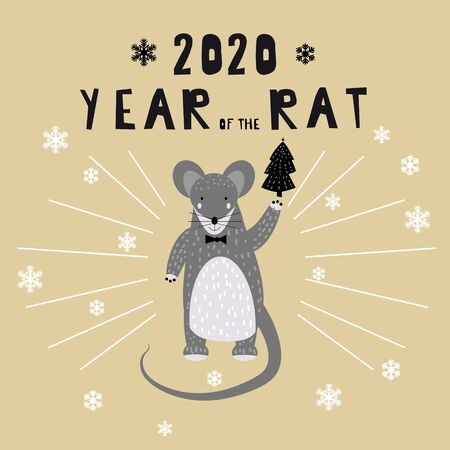 2020 Chinese New Year of the Rat zodiac cute character greeting card template Scandinavian style. Vector illustration 스톡 콘텐츠 - 133381189