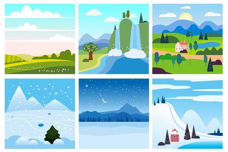 Calendar set landscape winter, summer in flat minimal simple style Vektorové ilustrace