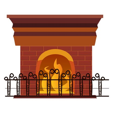 Fireplace with fire inside the grate. An element of the interior of a living room. Vector illustration isolated cartoon style