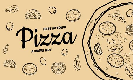 Pizza food menu for restaurant and cafe. Design in doodle lineart style template flyer baner with ingredients and text. Vector illustration for food menu or street food posters design, prints, web