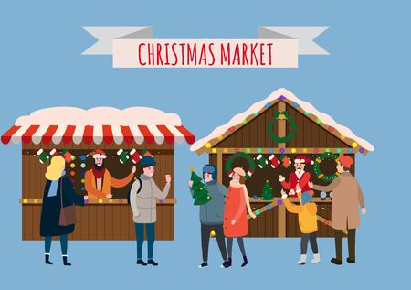 Christmas stalls with with souvenirs and gifts shop with garlands decorations. People buy christmas and new year decorations. Christmas fair wooden kiosks vector illustration isolated