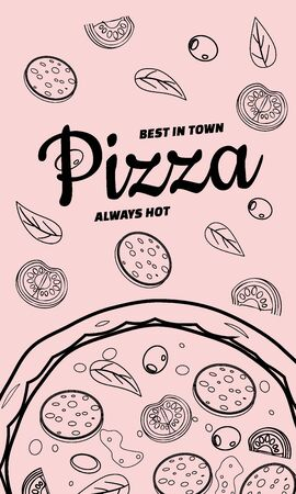 Pizza food menu for restaurant and cafe. Design in doodle line art style template flyer banner with ingredients and text. Vector illustration for food menu or street food posters design, prints, web