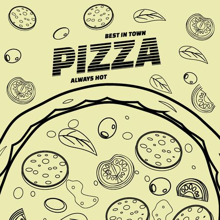 Pizza food menu for restaurant and cafe. Design in doodle line art style template flyer banner with ingredients and text. Vector illustration for food menu or street food posters design, prints, web 스톡 콘텐츠 - 133381199