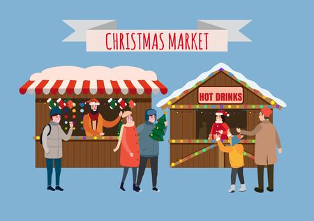 Christmas stalls with with souvenirs and hot drinks shop with garlands decorations. People buy christmas and new year decorations. Christmas fair wooden kiosks vector illustration isolated 일러스트