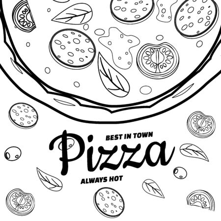 Pizza food menu for restaurant and cafe. Design in doodle line art style template flyer banner with ingredients and text. Vector illustration for food menu or street food posters design, prints, web Vector Illustration
