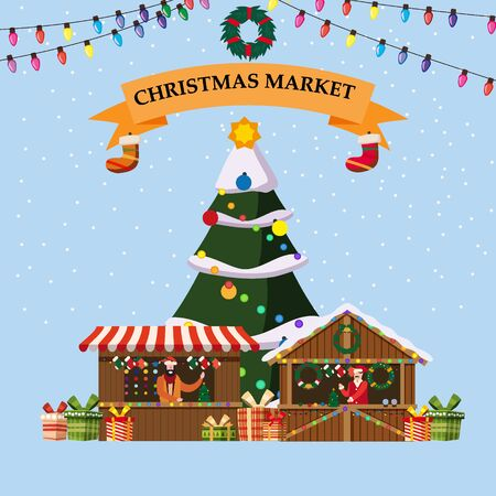 Christmas souvenirs market stalls with decorations and gifts 일러스트
