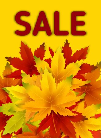 Autumn Sale Background Template, with falling bunch of leaves, shopping sale or seasonal poster