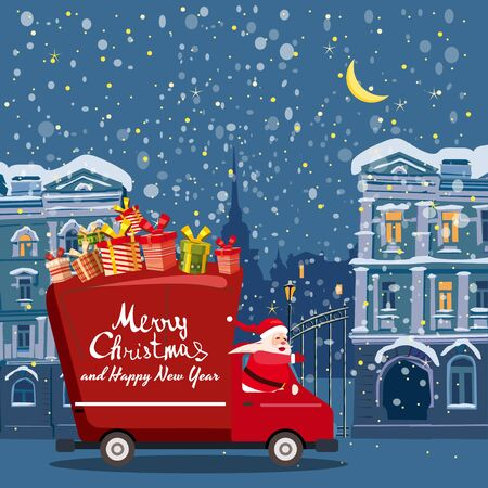 Merry Christmas Santa Claus Van delivering gifts background night winter old city. Flat cartoon style vector illustration greeting card poster banner 스톡 콘텐츠 - 133381222